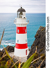 Close-up of a beautiful lighthouse at Cape Palliser, North Island, New Zealand