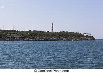 Lighthouse at Cape Tolstoy resort city of Gelendzhik