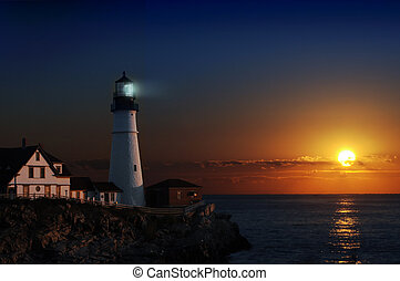 Lighthouse at dawn - Portland headlight light house at dawn