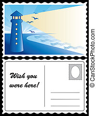 Lighthouse at dawn ocean landscape travel postcard. Copy space for custom greetings, address. Full size postcard, front and back, 8.5 inch by 5.5 inch. EPS8 organized in groups for easy editing.
