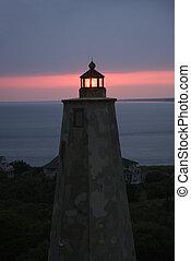 Lighthouse at dusk. - Old Baldy lighthouse at dusk on Bald ...