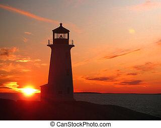 Lighthouse at dusk - Scenic Peggy\'s Cove lighthouse at dusk
