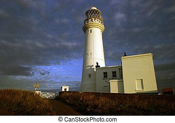 Lighthouse at Flamborough. Early morning