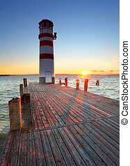 Lighthouse at Lake Neusiedl at sunset - Austria - Lighthouse...