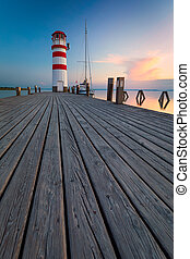 Lighthouse at Lake Neusiedl at sunset near Podersdorf, Burgenland, Austria