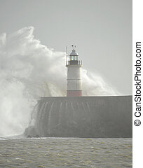 lighthouse at Newhaven Harbour, East Sussex, UK