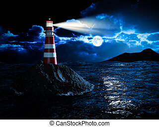 Lighthouse at night - lighthouse night scene illustration