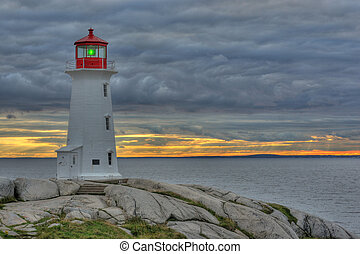 Picture of the light house at Peggys cove with sunset in the background