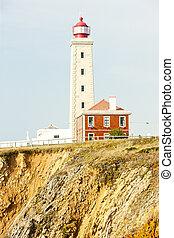 lighthouse at Sao Pedro de Moel, Estremadura, Portugal