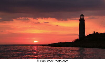 Lighthouse at sunset - Beacon on a sunset, Sevastopol, the...