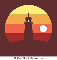 Lighthouse at sunset in a flat design