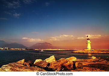 Lighthouse at sunset in Alanya, Turkey,