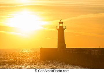 Lighthouse at sunset. Porto, Portugal