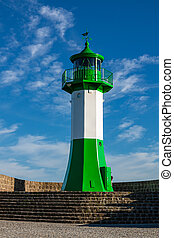 Lighthouse at the Baltic Sea coast in Sassnitz on the island Ruegen, Germany.
