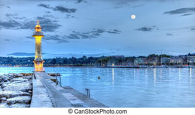 Lighthouse at the Paquis, Geneva, Switzerland, HDR -...