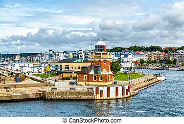 Lighthouse at the port of Helsingborg - Sweden