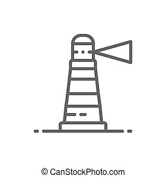 Lighthouse, beacon, warning sign, navigation, seamark line icon.