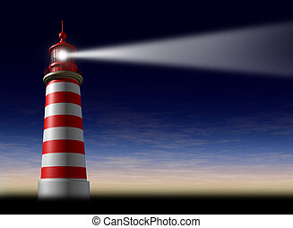 Lighthouse beam of light and beacon of hope and strategic guidance symbol as a concept of beaming light from the high tower for security and clear direction assistance in planning a journey or business strategy on a night horizontal sky before sunset or dusk.