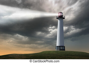 Lighthouse beaming light ray over stormy clouds.
