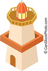 Lighthouse building icon, isometric 3d style
