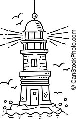 Lighthouse building on the rock - Lighthouse building, on a...