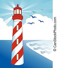 Striped lighthouse with light beacon, bay on the ocean shore, blue sky ray background.