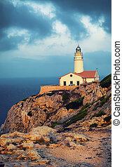 Sunset on lighthouse Capdepera in Mallorca, Spain