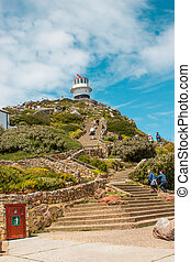 Lighthouse. Cape of Good Hope. Cape Peninsula Atlantic ocean. Cape Town. South Africa view from Cape Point
