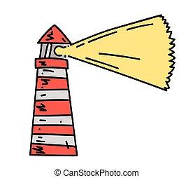 Lighthouse cartoon hand drawn image