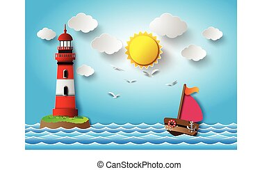 lighthouse., chmura, żaglówka
