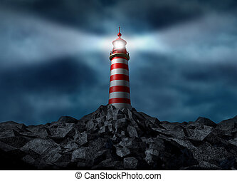 Lighthouse clearing the path on a rock mountain as a strategic guidance symbol with a beaming directional light business concept with a high tower for security and clear direction assistance in planning for a financial venture strategy with answers and consultation advice.
