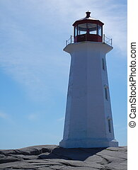 Lighthouse close up - Peggy's Cove white lighthouse in Nova...