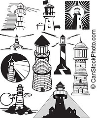 Clip art collection of different lighthouse designs