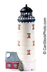Lighthouse cottage on white background
