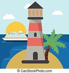 lighthouse cruise beach sun