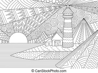 Coloring Page. Coloring Book for adults. Colouring pictures of light house among mountains, sunburst ocean and seawave. Antistress freehand sketch drawing with doodle and zentangle elements.