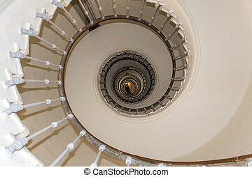 Lighthouse El Aank spiral staircase, abstract detail. Casablanca.