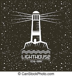 Lighthouse emblem in geometric style with texture. White...