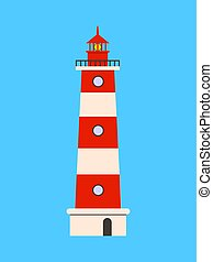 Lighthouse flat icon on blue background. Flat design Vector illustration