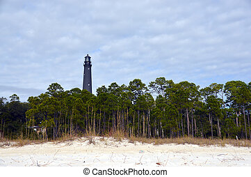 Lighthouse from the beach - A photo of a Florida lighthouse...