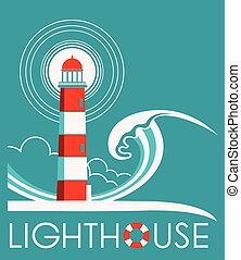 Lighthouse graphic label with text - Lighthouse and sea wave...