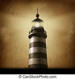 Lighthouse Grunge - Lighthouse on an old grunge parchment...