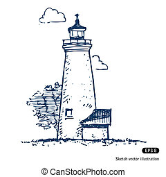 Lighthouse. Hand drawn vector isolated on white