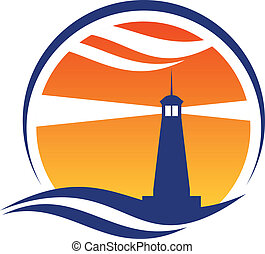 Lighthouse icon at sunset with beams of light shining through an orange sky from a silhouetted lighthouse with an ocean wave below
