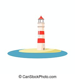 Lighthouse icon, cartoon style