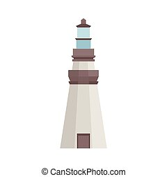 Lighthouse icon in flat style isolated on white background. Vector illustration