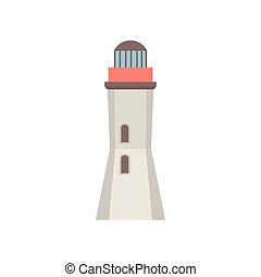 Lighthouse icon in flat style isolated on white background. Vector