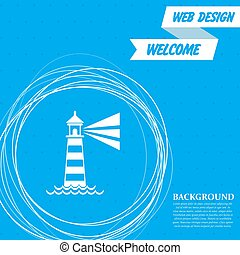 Lighthouse icon on a blue background with abstract circles around and place for your text. Vector