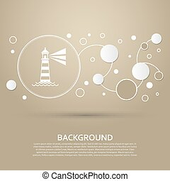 Lighthouse icon on a brown background with elegant style and modern design infographic. Vector
