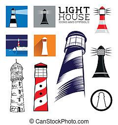 Lighthouse icon set
